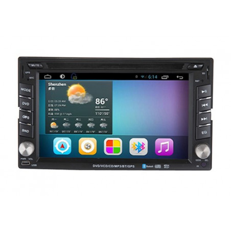 AW2222C 2DIN 6,2 inch Android 7.1 octacore navigatie, multimedia car pc carkit dvd speler