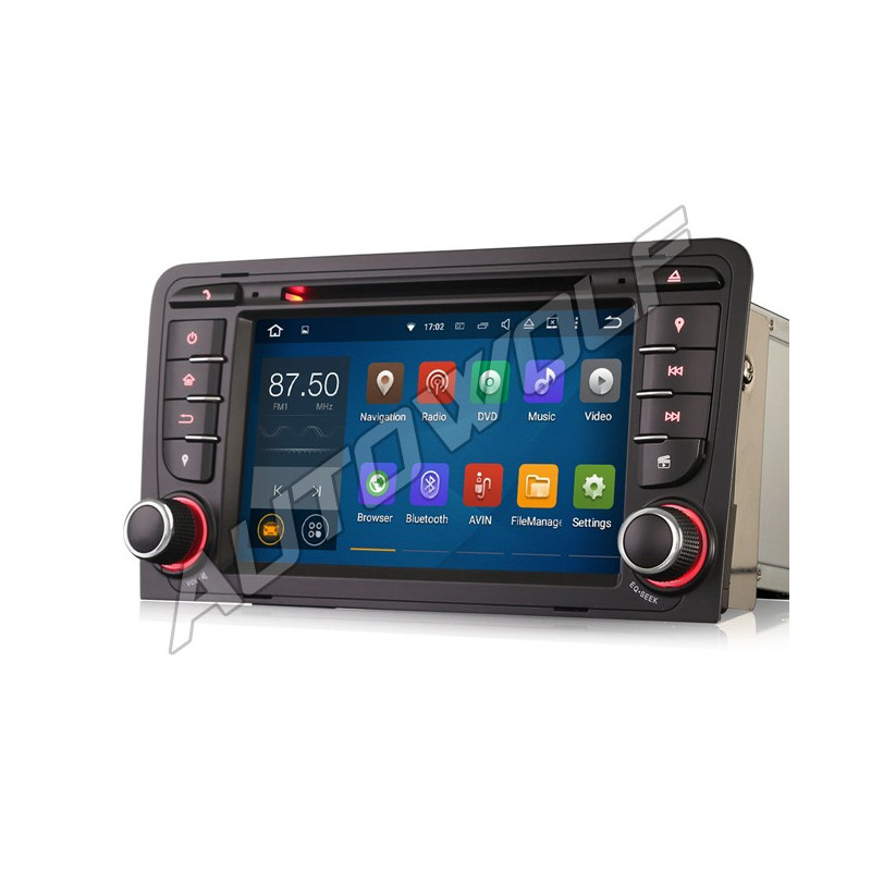 AW9347S 7 inch Android navigation for Audi A3, multimedia car pc DAB octa core, android 8