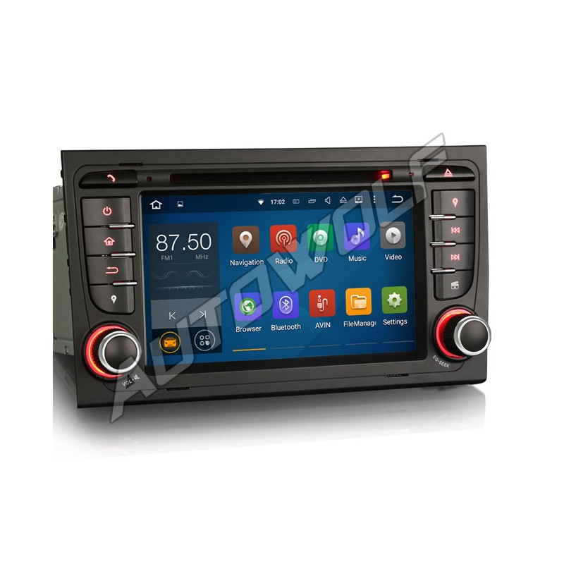 AW3188S2 7 inch Android 8 navigatie voor Audi A4, multimedia car pc met DAB, octa-core, 4GB ram, android 8