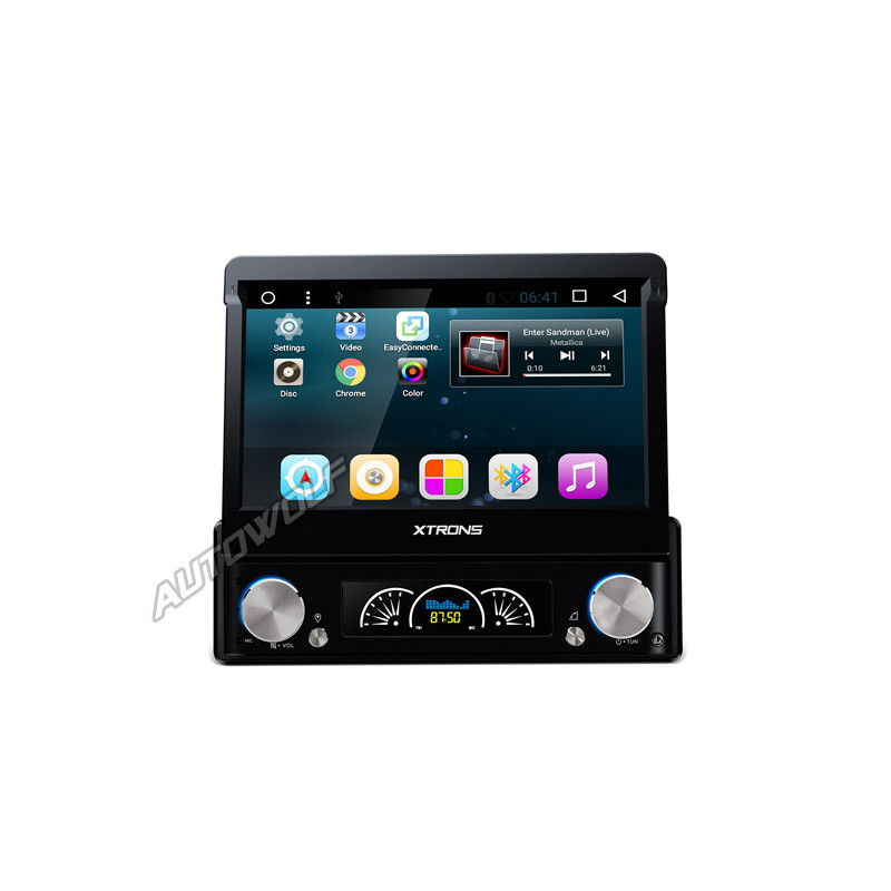 D719A 1DIN 7 inch klapscherm Android navigatie, dvd, multimedia car pc met capacitive touchscreen en dab+ quadcore processor