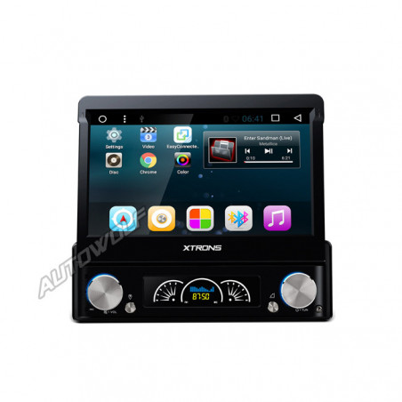 D719AS 1DIN 7 inch klapscherm Android navigatie, dvd, multimedia car pc met capacitive touchscreen en dab+ quadcore processor