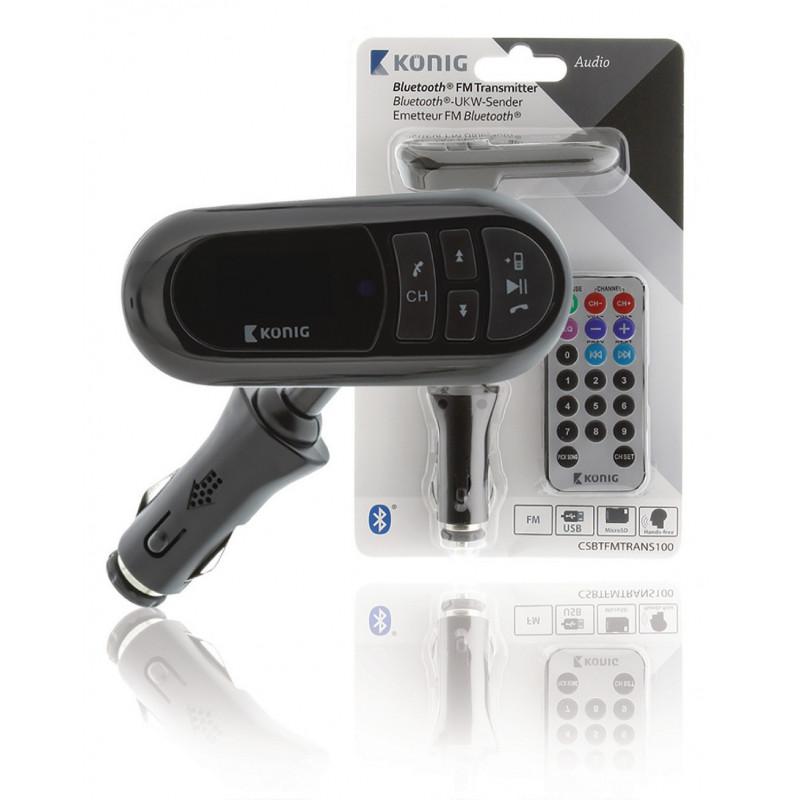 FM transmitter mp3 met bluetooth zwart met aux, usb en afstandsbediening