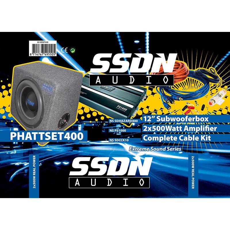 SSDN PHATTSET400 BoomBox Pakket (Subwoofer 800W/Versterker 2x500W/Kabelset 750W)