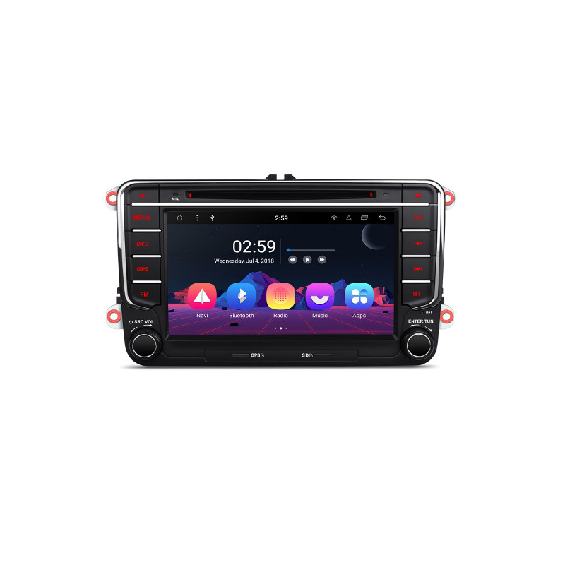 PR78MTV 7 inch Android 8.1 navigatie, multimedia car pc met DAB, carkit en wifi, octa-core processor