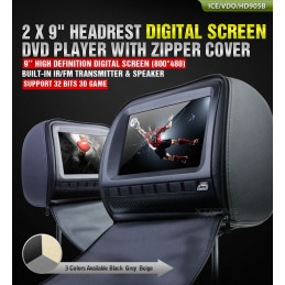 2x 9 inch LCD headrest DVD player HD905