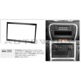 2 DIN panel Peugeot to ISO 308 408 AW-Peug001
