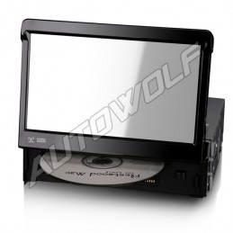 AW161217 1 DIN 7 inch klapscherm autoradio met Navigatie, DVD, bluetooth, dab, screenmirroring